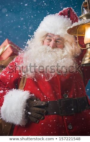 Kerstman buitenshuis sneeuwval lichten manier vintage Stockfoto © HASLOO
