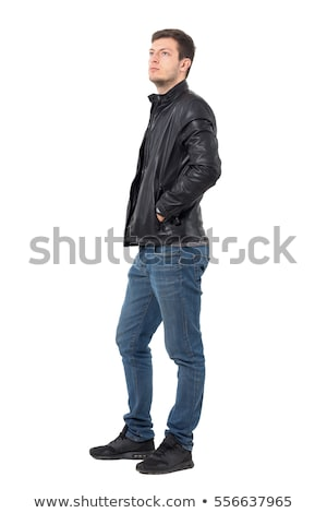side of a thoughtful young man in leather jacket Stock photo © feedough