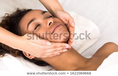 ストックフォト: 女性 · スパ · マッサージ · 小さな · 魅力のある女性 · 温泉療法