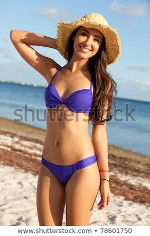 Portrait of a beautiful young woman posing in bikini, hat and su Stock photo © vlad_star