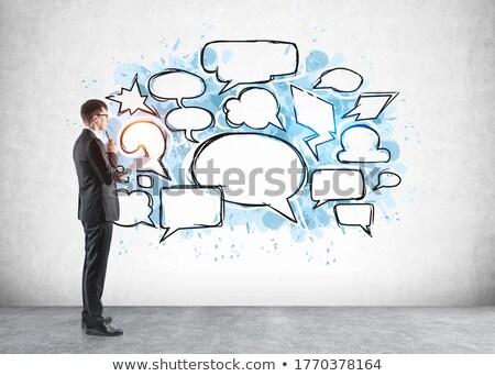 paper speech clouds, standing out concept Stock photo © burakowski
