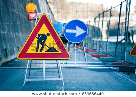 traffic sign to indicate a construction site at the street stock photo © meinzahn