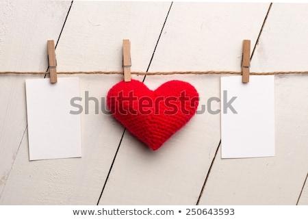 nota · speelgoed · hart · houten · kurk · boord · kantoor - stockfoto © karandaev