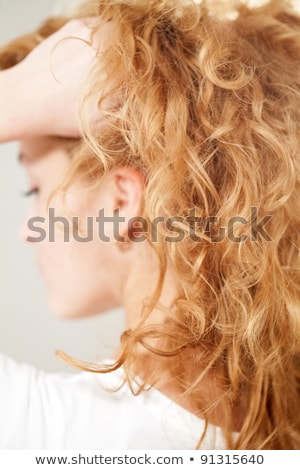 Purity. Haircare. Woman with Frizzy Brown Healthy Hair Stock photo © gromovataya