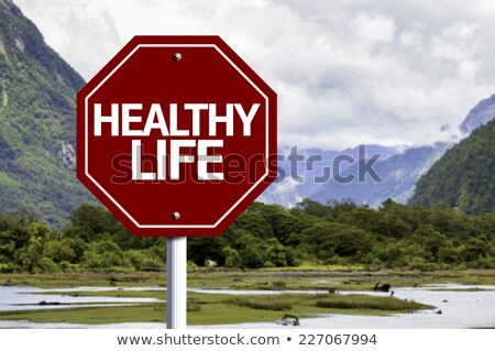 Saúde vermelho placa sinalizadora céu fitness Foto stock © tashatuvango