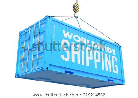 world wide delivery   blue hanging cargo container stock photo © tashatuvango