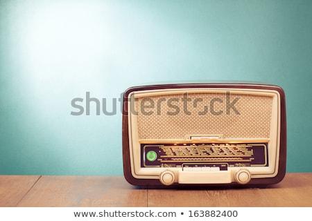 vintage · radio · appareil · isolé · blanche - photo stock © smuki