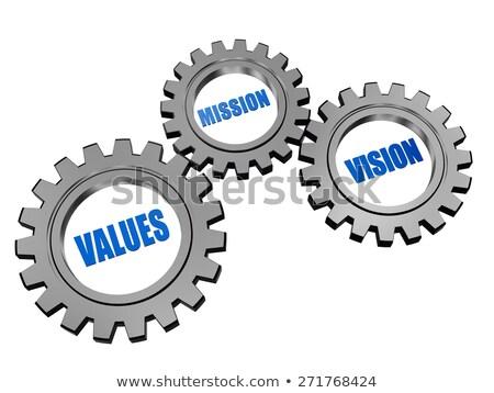visie · missie · doel · zilver · grijs · versnellingen - stockfoto © marinini