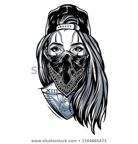 ストックフォト: 女性 · 暴力団 · 孤立した · 白 · ファッション · セキュリティ