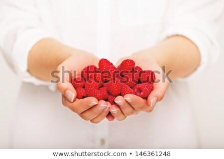 Framboesas mão mulher branco tigela Foto stock © simply