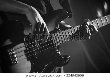 guitarra · eléctrica · guitarra · estilizado · pared · de · ladrillo · música · fondo - foto stock © bigalbaloo