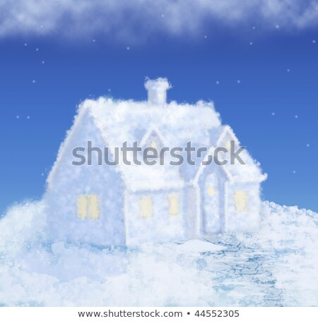 dream ice cloud winter house collage stock photo © paha_l