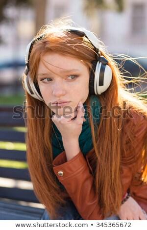 печально · молодые · студент · девушки · сидят · скамейке - Сток-фото © deandrobot