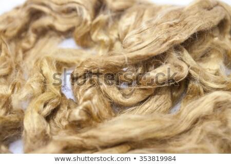 Saffron piece of Australian sheep wool Merino breed close-up on a white background Stock photo © mcherevan