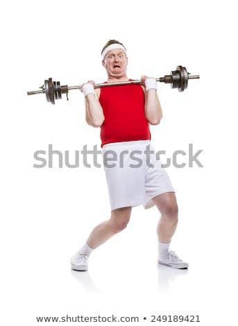 ストックフォト: フィット · ボディービルダー · 重量 · 赤 · 筋