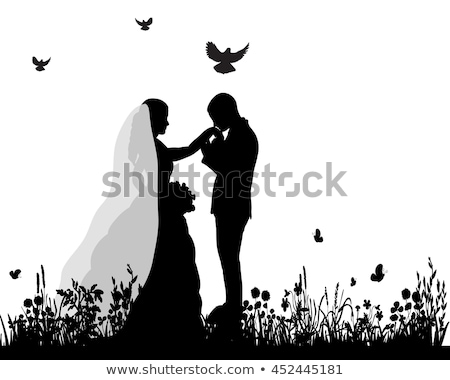 wedding bride and groom with white doves stock photo © kzenon