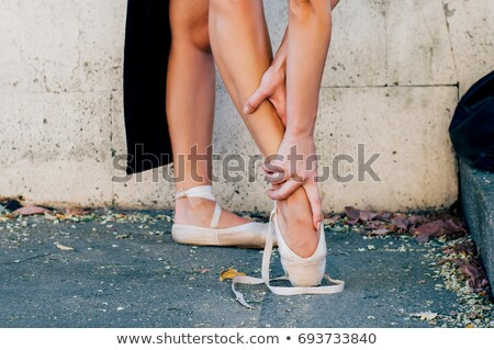 Sebesült ballerina ül padló balett osztály Stock fotó © deandrobot