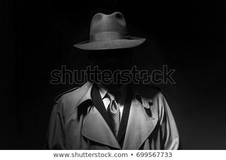 rajz · gengszter · fegyver · kalap · izolált · férfiak - stock fotó © jossdiim