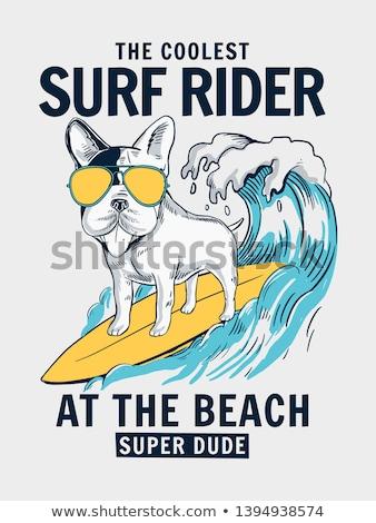 Fată surfing rechin proiect ilustrare plajă Imagine de stoc © adrenalina