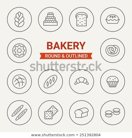 baguette · línea · icono · vector · aislado · blanco - foto stock © rastudio