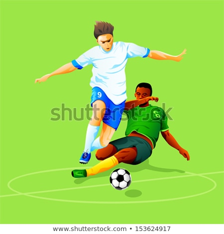 soccer players illustrations running behind ball stock photo © cienpies