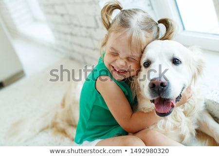 child with puppy Stock photo © adrenalina
