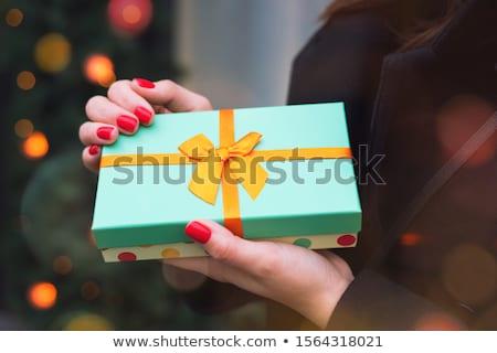 Turquesa cinta Navidad blanco color regalo Foto stock © racoolstudio