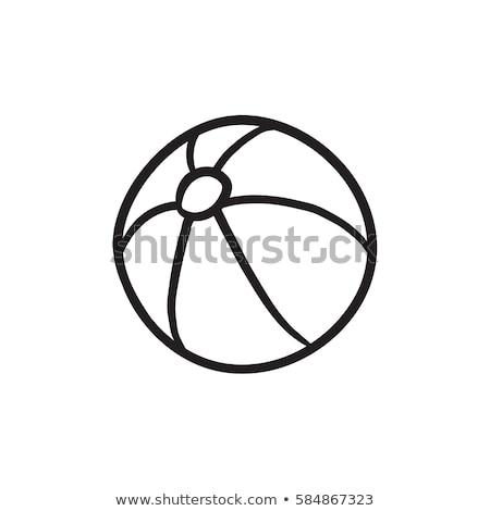pallone · da · spiaggia · sketch · icona · web · mobile - foto d'archivio © rastudio