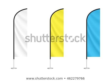 oranje · vlaggen · opknoping · buiten · blauwe · hemel · gebruikt - stockfoto © zurijeta