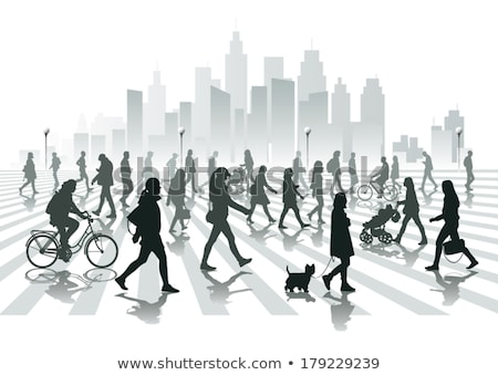 Silhouettes of people walking on city street Stock photo © stevanovicigor