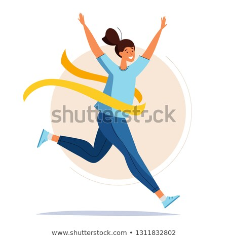 runner on finish flat style vector illustration stock photo © robuart