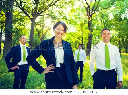 yeşil · iş · ekibi · iş · adamları · masaüstü · işaret - stok fotoğraf © stokkete