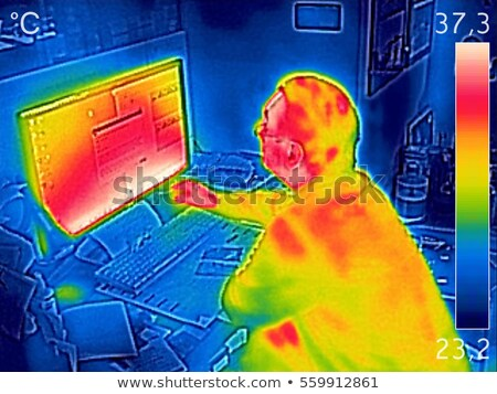Infrared thermal image showing the heat emission while a man wor Stock photo © smuki