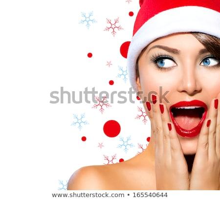 santa girl surprised look isolated on white stock photo © elnur