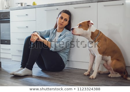 Girl with amstaff dog Stock photo © svetography