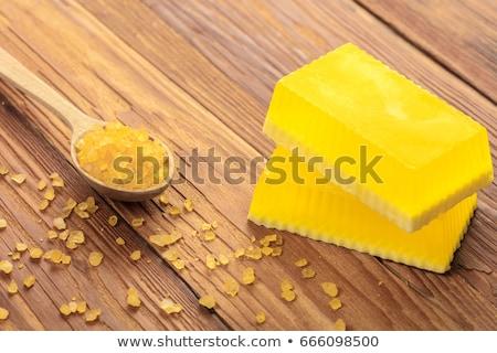 Sarı el yapımı sabun tuz ahşap ev Stok fotoğraf © OleksandrO