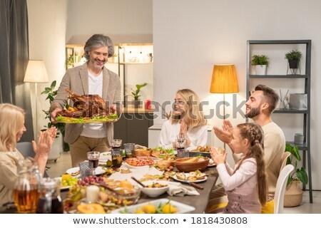 Stockfoto: Onge · kinderen · op · feestje · zitten · aan · tafel · met · moeder · met · ca.