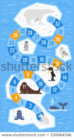 Vector flat style illustration of kids arctic animals board game Stock photo © curiosity