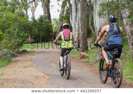 rear view of couple riding bicycle at footpath stock photo © wavebreak_media