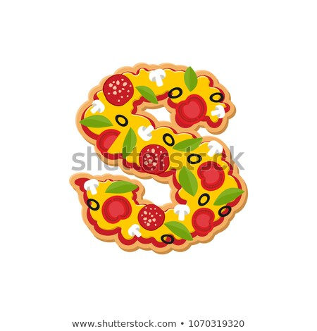 Letter S pizza font. Italian meal alphabet. Lettring fast food Stock photo © popaukropa