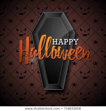 happy halloween vector illustration with pumpkin on black background holiday design with spiders an stock photo © articular