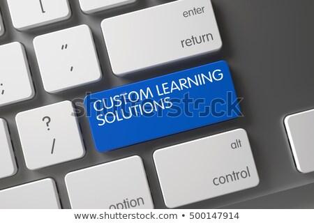 Stockfoto: Blauw · gewoonte · leren · oplossingen · sleutel · toetsenbord