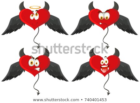 Four devil hearts with facial expressions Stock photo © bluering