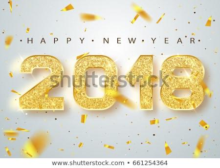 shining 3d golden new year 2018 Stock photo © marinini