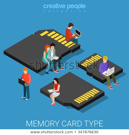 set of 3d isometric memory cards vector illustration stock photo © kup1984