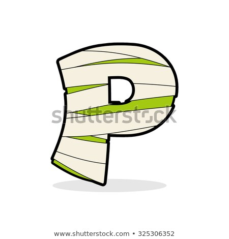 letter p mummy typography icon in bandages horrible egyptian e stock photo © popaukropa