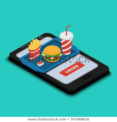 Rendelés online hamburger sültkrumpli mobil illusztráció Stock fotó © alexmillos