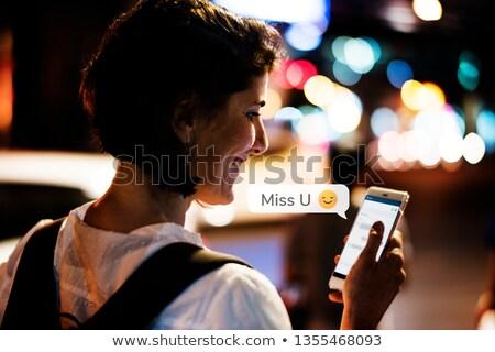 Mesaj telefon kadın sevmek iletişim konuşma Stok fotoğraf © rogistok