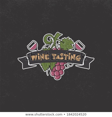 Wine tasting, winery logo template. Drink, alcoholic graffiti art, beverage symbol. Vine icon and ty Stock photo © JeksonGraphics