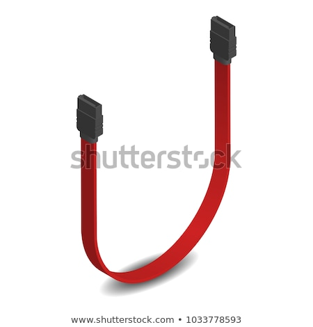 3D SATA connector with red cable, vector illustration. Stock photo © kup1984